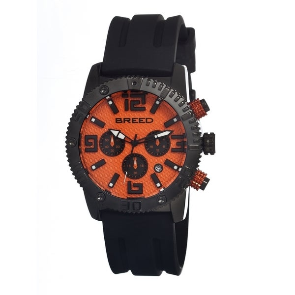 Breed Mens Agent Black Strap Orange Dial Analog
