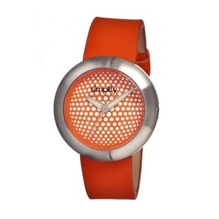 Simplify Men's 'The 1200' Orange Leather Strap Analog Watch