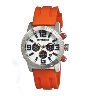 Breed Men's 'Agent' White Dial Orange Silicone Strap Chronograph Analog Watch