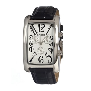 Breed Women's 'Gatsby' Black Leather Strap White Dial Analog Watch