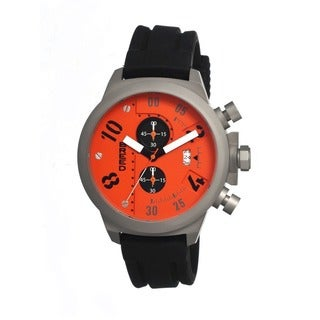 Breed Men's 'Arnold' Black Silicone Strap Orange Analog Watch