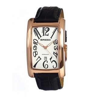 Breed Women's 'Carraway' Black Leather Strap Rose Gold Analog Watch