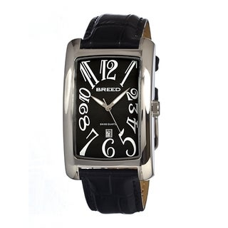 Breed Women's 'Carraway' Black Leather Strap Stainless Steel Analog Watch