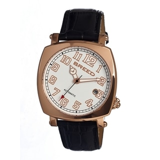 Breed Men's 'Benny' Black Leather Rose Gold Analog Watch