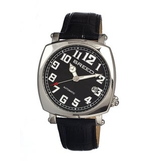 Breed Men's 'Benny' Black Leather Strap Stainless Steel Analog Watch
