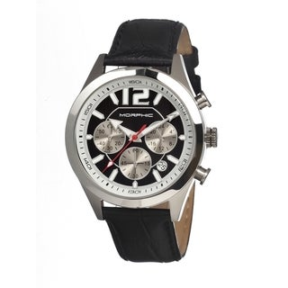 Morphic Men's M15 Series Black Leather Black Analog Watch