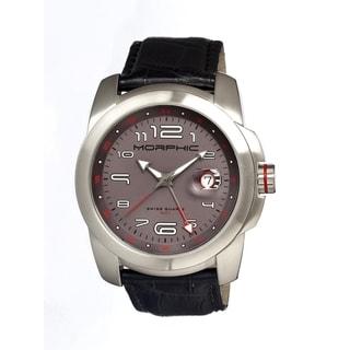 Morphic Men's 'M14 Series' Black Leather Grey Dial Watch