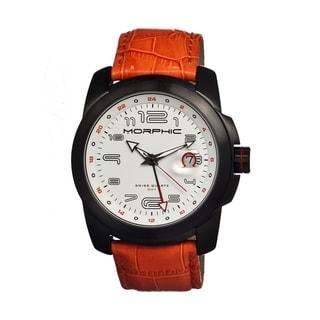 Morphic Men's 'M14 Series' Orange Leather White Dial Watch