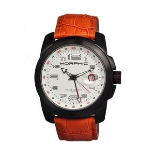 Morphic Men's 'M14 Series' Orange Leather White Dial Watch
