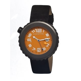 Morphic Men's 'M13 Series Black' Black Leather Orange Dial Watch