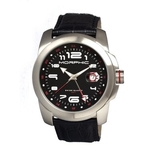 Morphic Men's 'M14 Series Silvertone' Black Leather Black Dial Watch