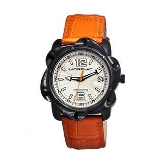 Morphic Men's 'M12 Series Black' Orange Leather Silvertone Dial Watch