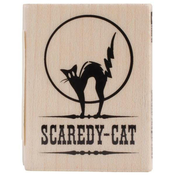 Inkadinkado Halloween Mounted Rubber Stamp 1.5 X2 - Scaredy Cat
