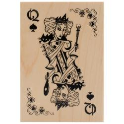 Inkadinkado Halloween Mounted Rubber Stamp 2.75 X4 - Witch Queen Playing Card