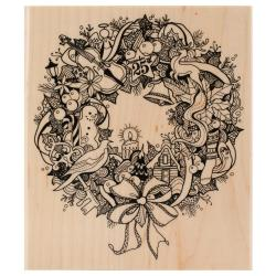 Inkadinkado Christmas Mounted Rubber Stamp 3.5 X4 - Wreath Doodle