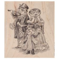Inkadinkado Christmas Mounted Rubber Stamp 3.5 X4 - 3 Cats Caroling