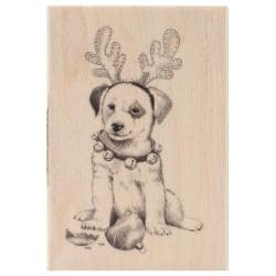 Inkadinkado Christmas Mounted Rubber Stamp 2.75 X4 - Holiday Puppy
