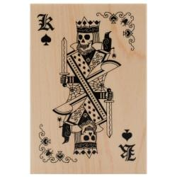 Inkadinkado Halloween Mounted Rubber Stamp 2.75 X4 - Skeleton King Playing Card