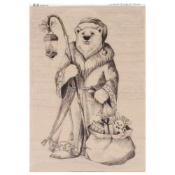 Inkadinkado Christmas Mounted Rubber Stamp 3.5 X5 - Santa Polar Bear