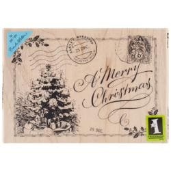 Inkadinkado Christmas Mounted Rubber Stamp 3.5 X5 - Christmas Postcard