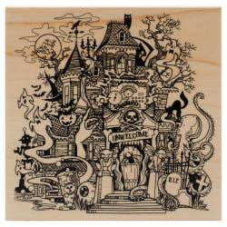 Inkadinkado Halloween Mounted Rubber Stamp 4.5 X4.5 - Haunted House
