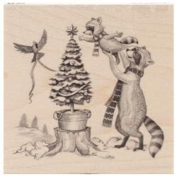 Inkadinkado Christmas Mounted Rubber Stamp 4.5 X4.5 - Woodland Decor
