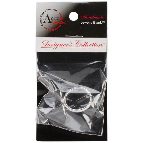 Designer's Semi-Adjustable Flat Round Ring 20mm 1/Pkg - Silver Overlay