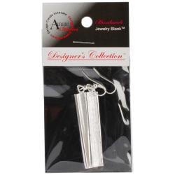 Designer's Channel Dangle Rectangle Earring Set - Silver Overlay