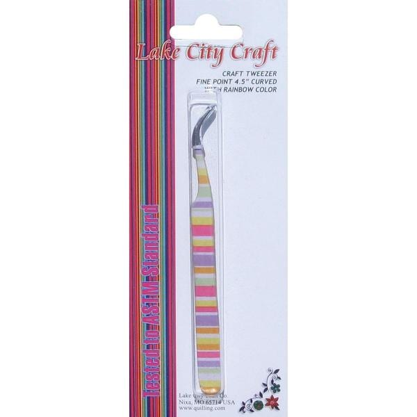 Curved Fine Point Tweezers - Rainbow