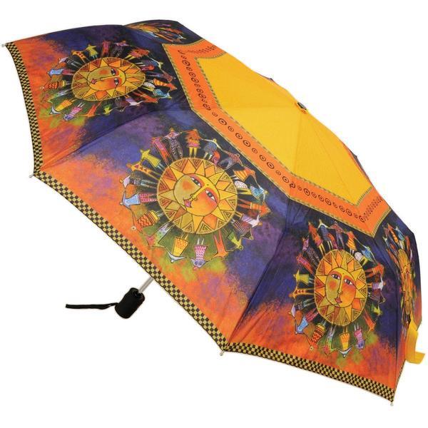 Laurel Burch Compact Umbrella 42 Canopy Auto Open/Close - Harmony Under The Sun