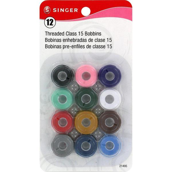 Transparent Plastic Class 15 Bobbins -Threaded - 12/Pkg