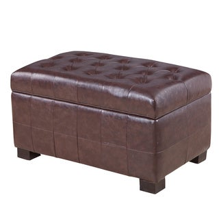 Royal Comfort Collection Luxury Espresso Tufted Storage Bench Ottoman