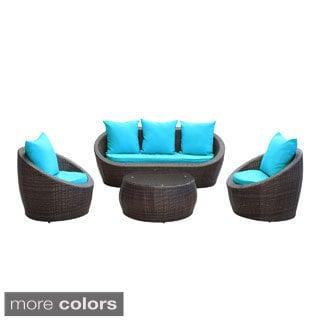 Avo Brown Wicker 4-piece Outdoor Patio Seating Set