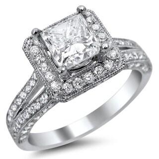 14k White Gold 1 3/4ct TDW Princess-cut Square Halo Diamond Engagement Ring (E-F, VS1-VS2)
