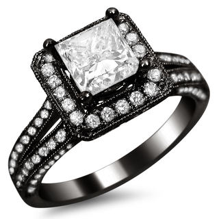 14k Black Gold 1 3/4ct TDW Princess-cut Square Halo Diamond Engagement Ring (G-H, SI1-SI2)