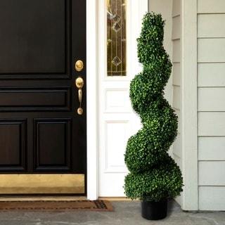 50-inch Romano Boxwood Spiral Topiary Artificial Tree