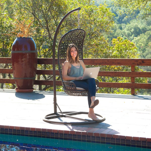 Brown Wicker Outdoor Swinging Chair