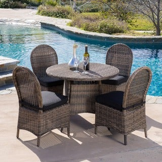 Christopher Knight Home Malachi Outdoor Multi-black Wicker 5-piece Dining Set with Cushions
