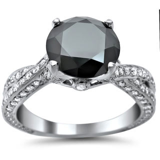 14k White Gold 2 4/5ct TDW Black Round-cut Diamond Engagement Ring