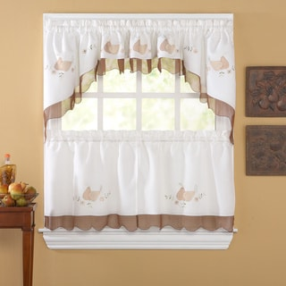 Anjou White/ Mocha 5-piece Curtain Tier and Swag Set