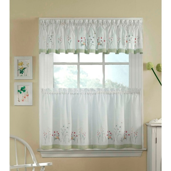 Garden Flowers 3-piece Curtain Tier And Valance Set