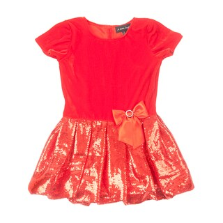 Peanut Buttons Girl's Bubble Clothing Set in Red