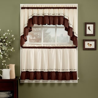 Jayden Chocolate 5-piece Curtain Tier and Swag Set