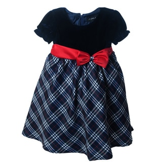 Peanut Buttons Girls' Velvet Top Satin Bow Clothing Set