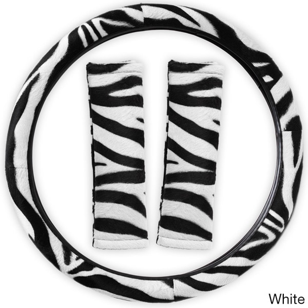 Oxgord Safari Zebra/ Tiger Plush Auto Steering Wheel Cover and Belt Pads Set