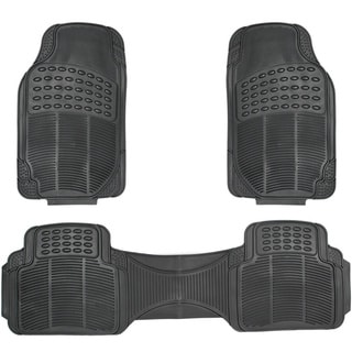 Ridged Style Rugged 3-piece PVC Rubber Floor Mats Set