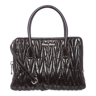 Miu Miu 'Lux' Small Black Matelasse Leather Shoulder Bag