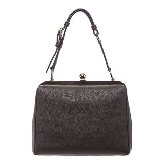 Dolce & Gabbana Dark Brown Grained Leather Framed Handbag