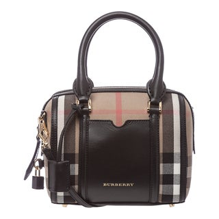 Burberry 'Sartorial' Small Brown and Black House Check Bowling Bag