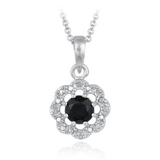 Glitzy Rocks Silvertone Sapphire and Diamond Accent Round Flower Solitaire Necklace
